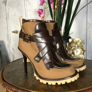 Tory Burch Ankle Platform Boots Textile/FxLeather